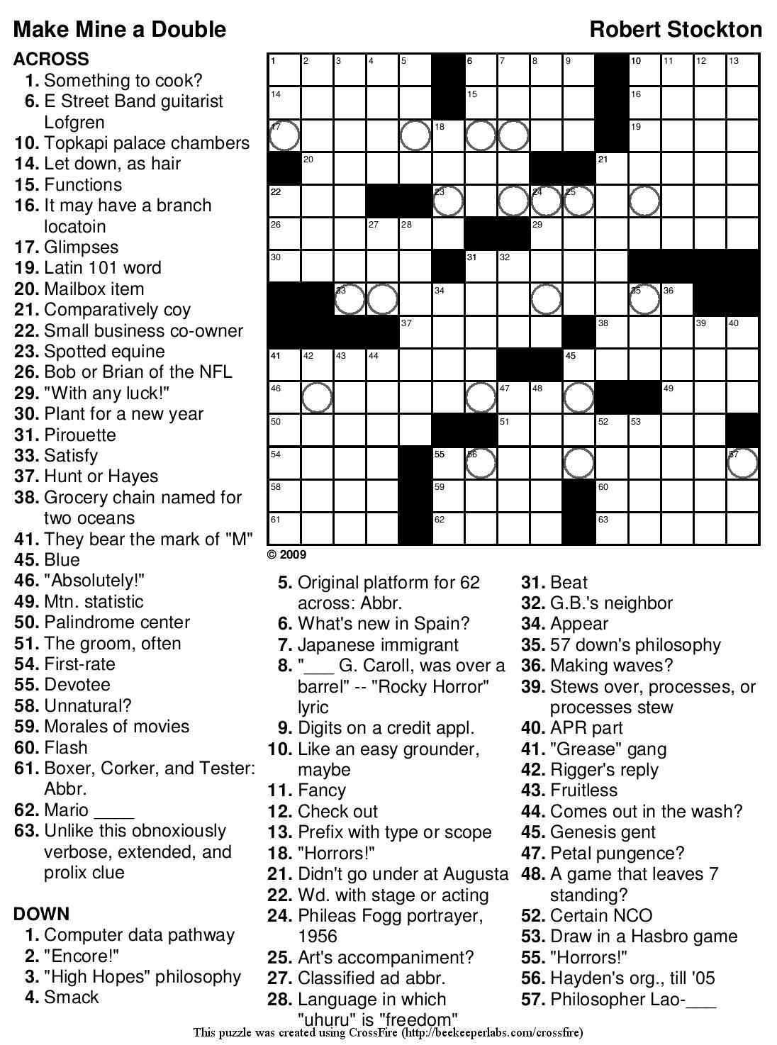 Printable Crossword Puzzles Hard