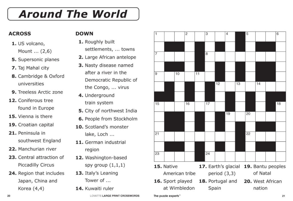 Printable Crossword Puzzle For 8 Year Old Printable