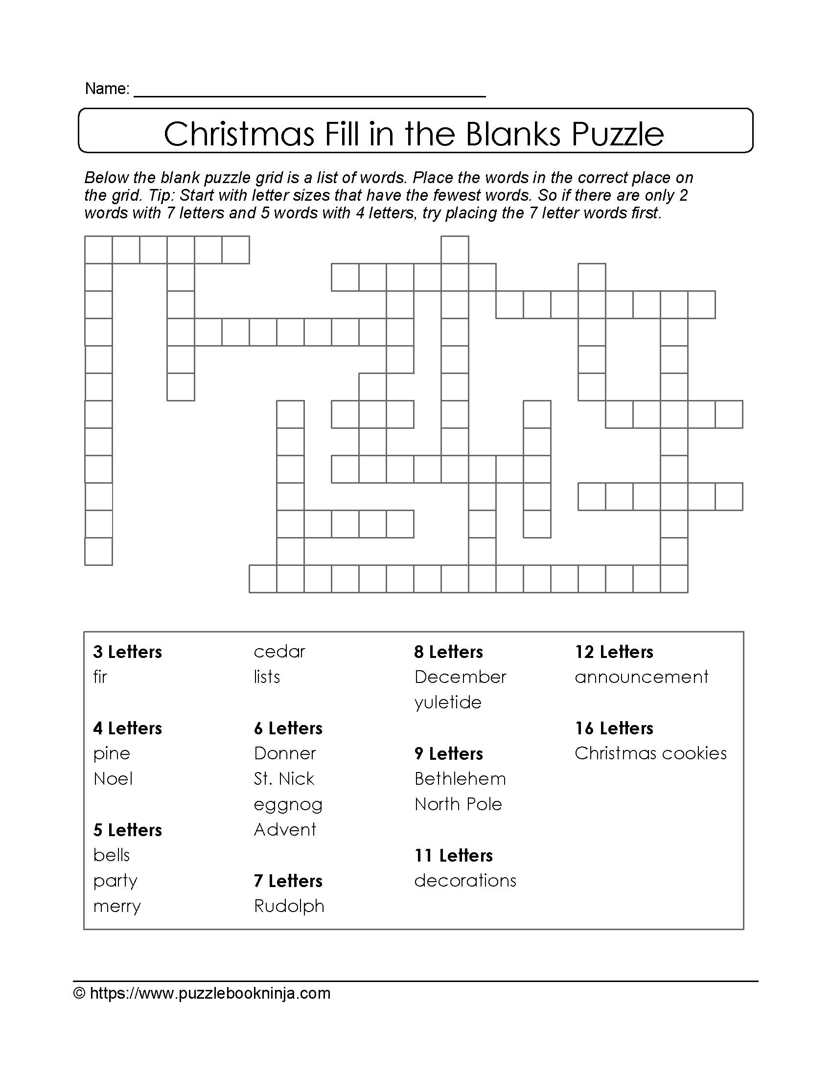 Crossword Puzzle For 8 Year Old