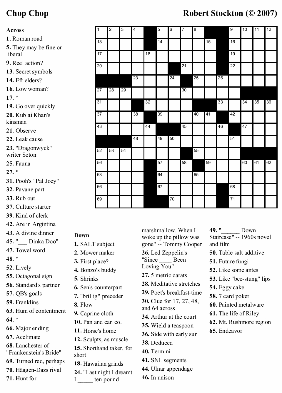 Crosswords To Print Out