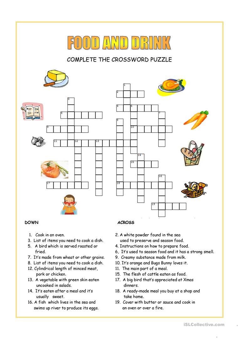 Food Crossword Puzzle Printable
