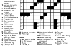 Printable Crossword Puzzles For Adults Large Print