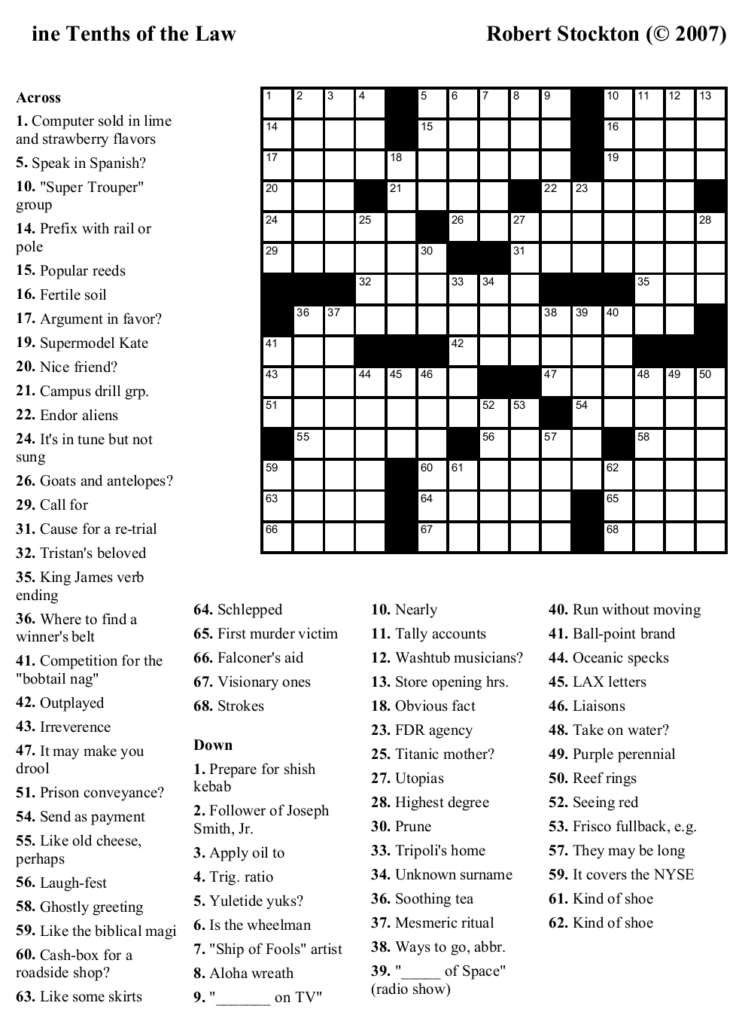 Printable Easy Crossword Puzzles With Answers Printable