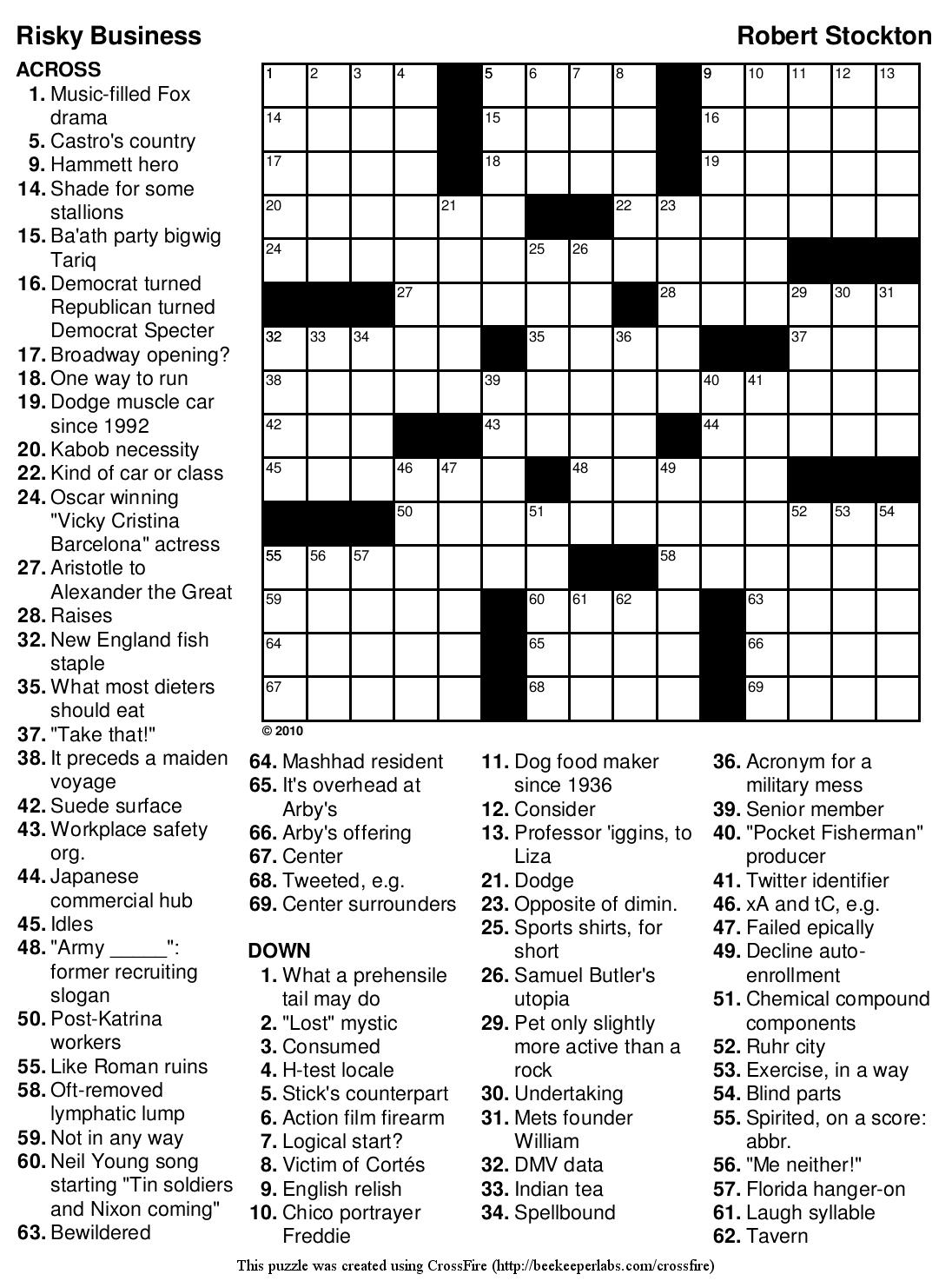 English Crosswords Printable