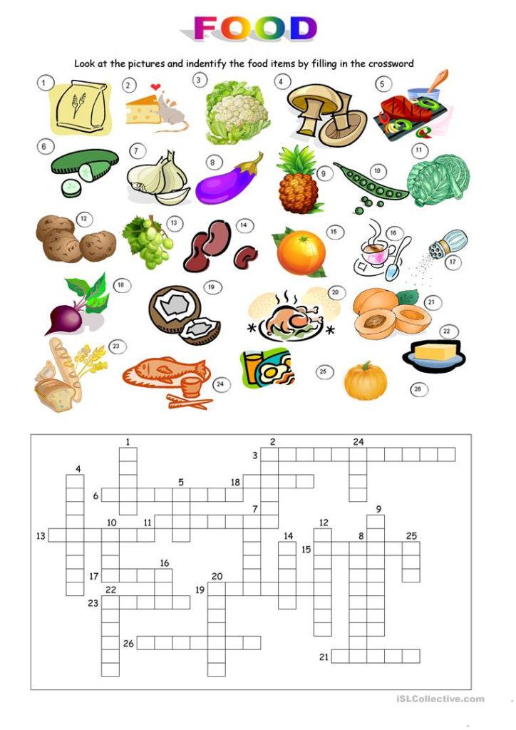 Printable Food Puzzle Printable Crossword Puzzles