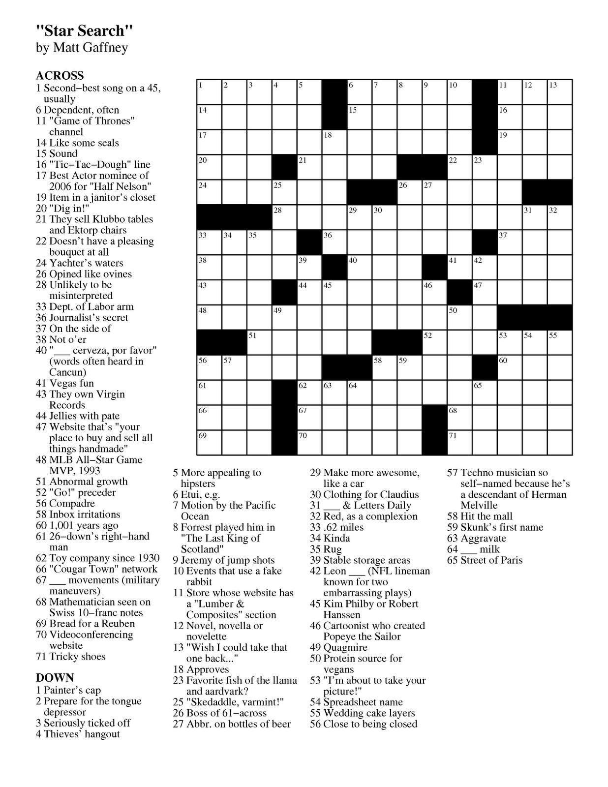 Puzzle Choice Printable Crosswords