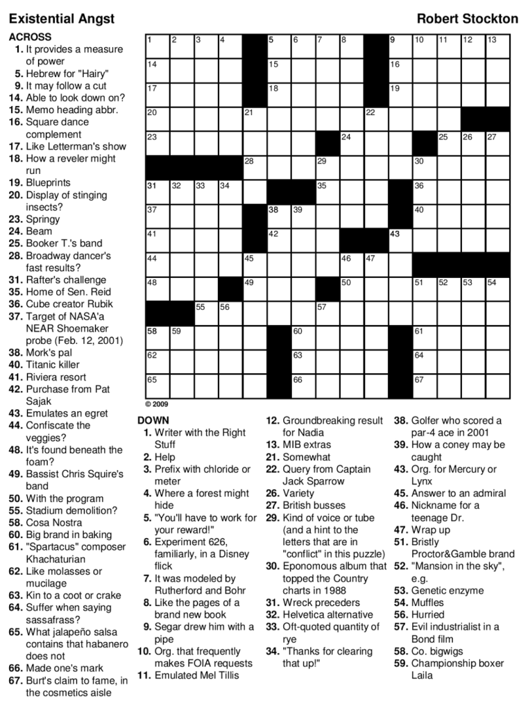 Printable Hard Crossword Puzzles For Adults Printable