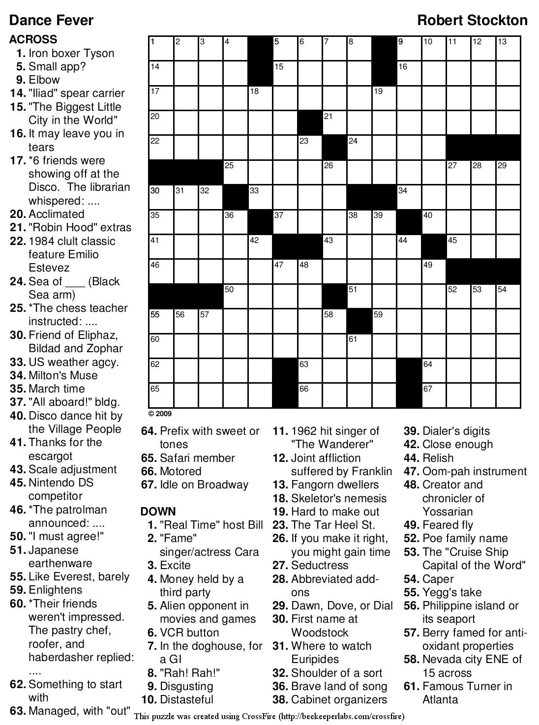 Printable Crossword Puzzles For Nurses