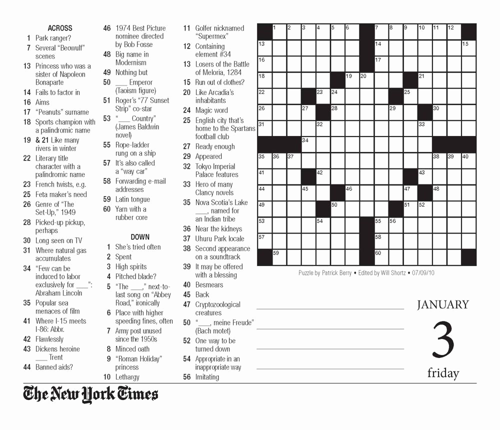 Ny Times Crossword Puzzle Printable