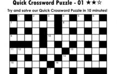 Printable Quick Crosswords Puzzle Baron