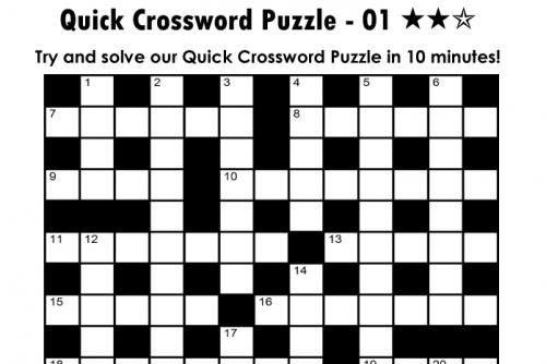 Printable Quick Crossword Puzzles