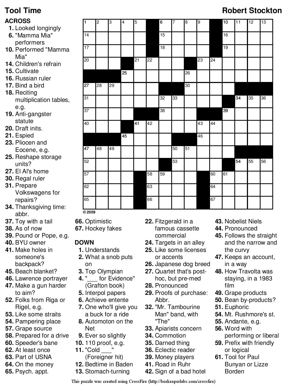 Printable Russian Crossword