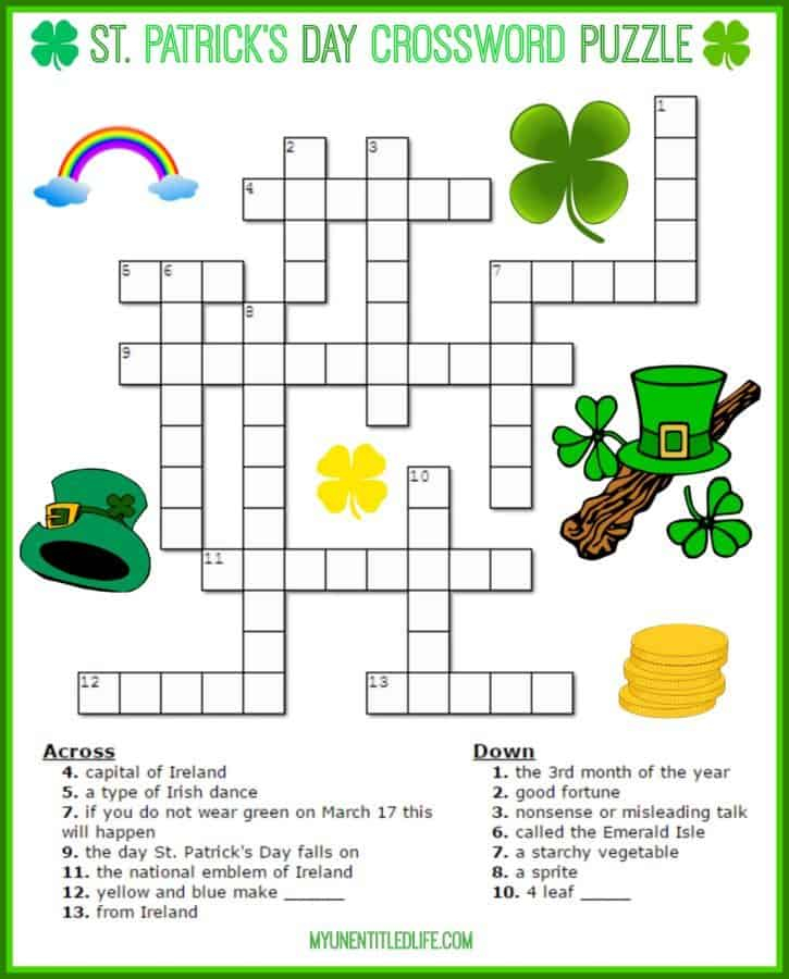 St Patrick's Day Crossword Puzzle Printable For Adults