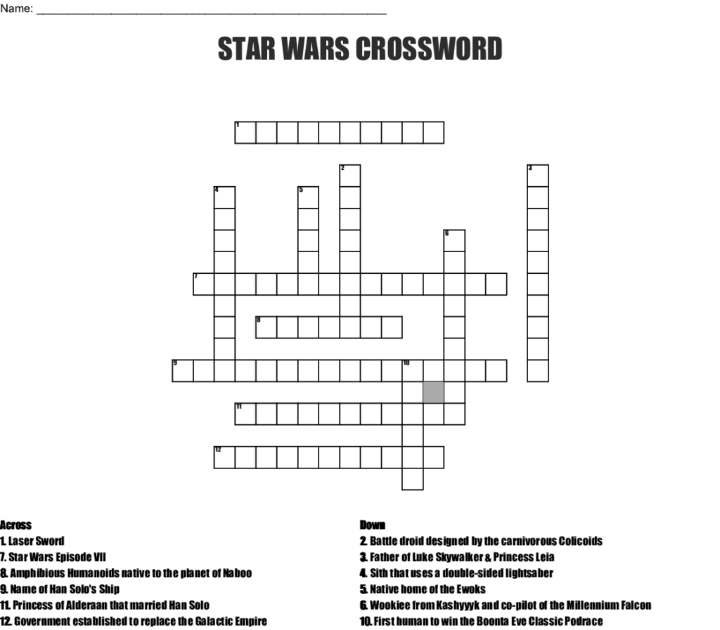 Star Wars Crossword Puzzle Printable Printable Crossword