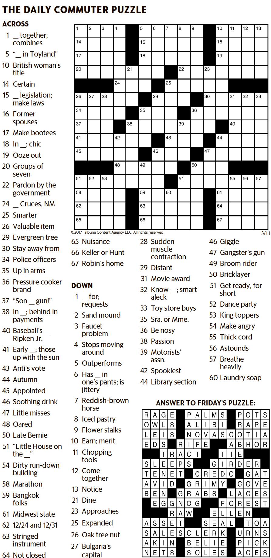 Kansas City Star Crossword Printable