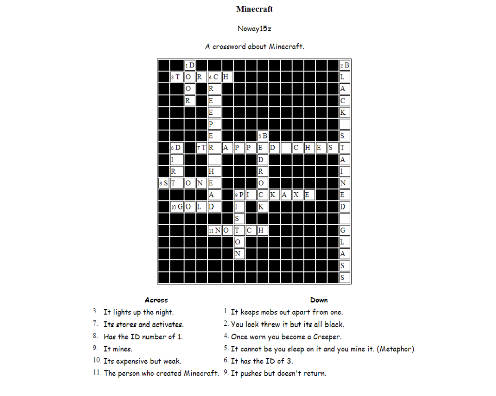 The Eternal Adventure Minecraft Crossword