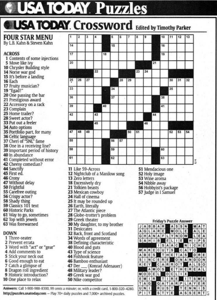 Usa Today Crossword Printable Printable Template Free