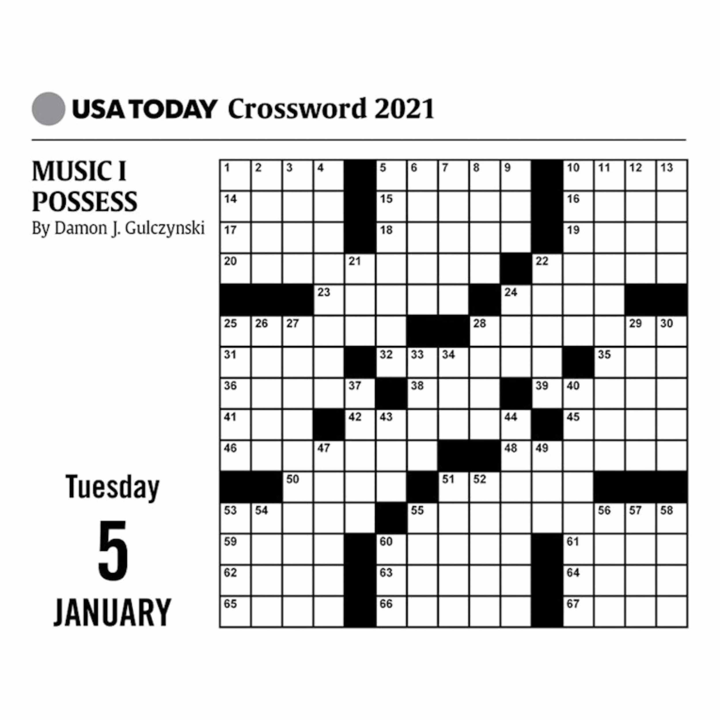 2021 Free Printable Crossword Puzzles