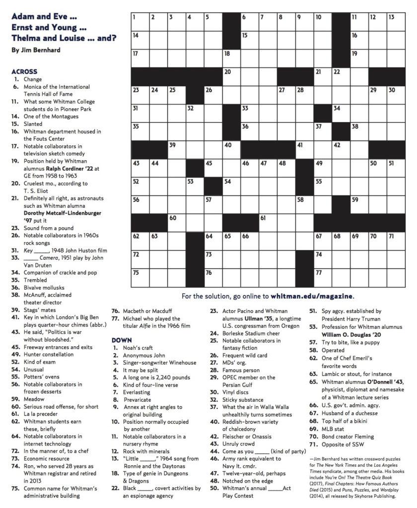 Winter 2018 Crossword Whitman College